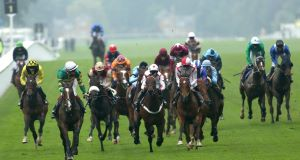Well Sharp (second left) ridden by Frank Berry on the way to winning The Ascot Stakes. Picture: PA