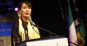 Aung San Suu Kyi pictured in Dublin