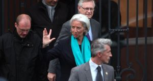 Christine Lagarde arriving at a court in Paris. Picture: AP