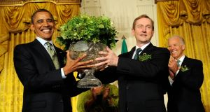 Taoiseach Enda Kenny and US President Barack Obama participate in the Shamrock Ceremony in the White House last year. Picture: Leslie E. Kossoff/LK Photos