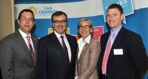 Conor Healy, Cork Chamber; Pádraig Ó Ríordáin, DAA; Chamber president Gillian Keating; and Aidan Holland, Irish Examiner at the  Cork Chamber of Commerce business breakfast at the Cork International Airport Hotel.