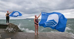 Elena Green, from Crumlin and Margaret Thomas from Dundrum who took a break from their swim to help announce a new Blue Flag  at Seapoint, Dublin. Picture: Maxwells
