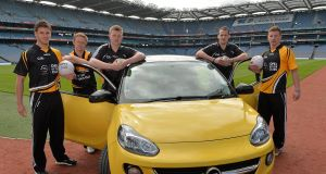 Cork footballer Eoin Cadogan; Kerry footballer Colm Cooper; Galway hurler Joe Canning; Kilkenny hurler Jackie Tyrrell and Dublin footballer Ciaran Kilkenny at the launch of Opel Kits for Clubs 2013.