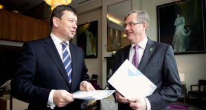 AIB head of business banking, Ken Burke, and Irish Hotels Federation CEO, Tim Fenn, at the launch of a new report into the hotel sector. Picture: Chris Bellew