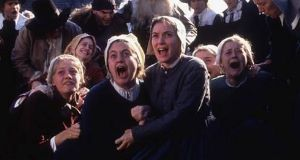 Winona Ryder in The Crucible: subjecting pregnant women to assessment by six doctors smacks of the Salem witch trials.
