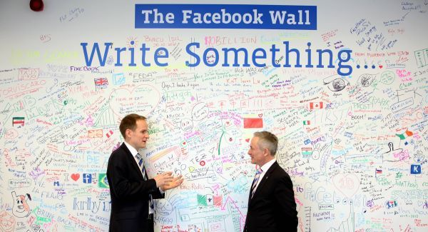 Gareth Lambe of Facebook with Jobs Minister Richard Bruton at today's announcement.Picture: Jason Clarke