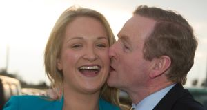 Enda Kenny gives Helen McEntee a kiss on the cheek after she won her Dáil seat. Picture: Barry Cronin