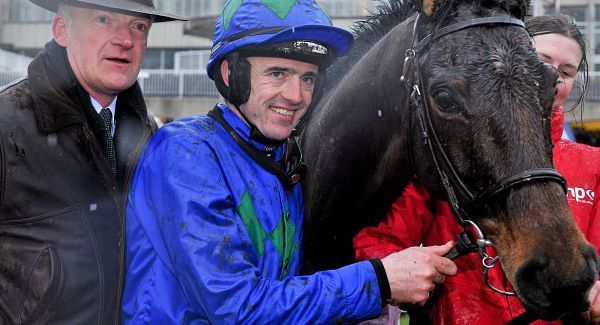 Ruby Walsh with Hurricane Fly and trainer Willie Mullins in the winners enclosure after winning the BHP Insurance Irish Champion Hurdle today. Picture: Sportsfile