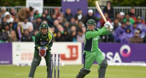 Paul Stirling, Ireland, hits a run to score a half century. Picture: Sportsfile
