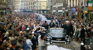 President John F Kennedy makes his way up St Patricks St