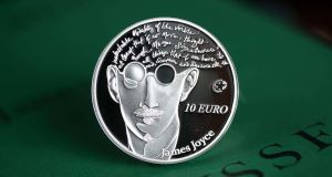 The limited addition James Joyce collector coin issued by the Central Bank of Ireland. Picture: PA