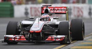 Jenson Button during first practice in Melbourne