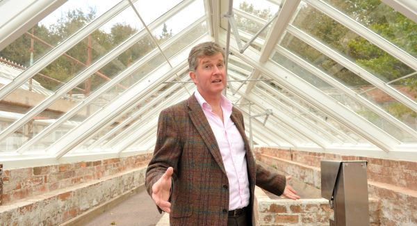 Kevin Baird, CEO of the Irish Heritage Trust at the glasshouses at Fota during their renovation