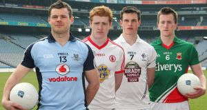 Dublin's Kevin McManamon, Tyrone's Peter Harte, Kildare's Eoin Doyle and Cillian O'Connor of Mayo. Picture: INPHO