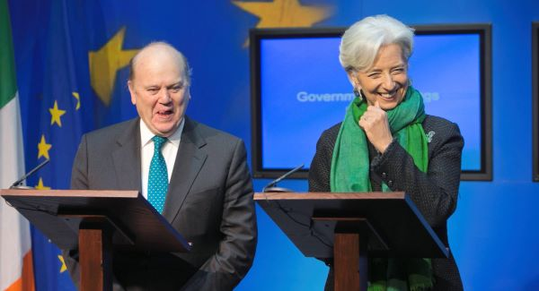 Minister for Finance Michael Noonan and IMF managing director  Christine Lagarde at a press briefing at Government Buildings, Dublin. Picture: Gareth Chaney