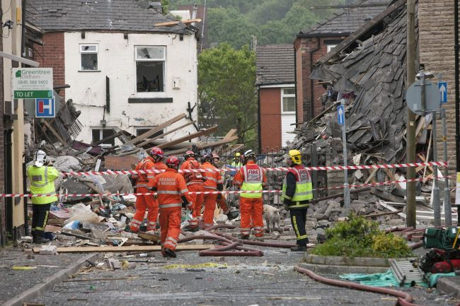 The scene of the blast in Shaw, Greater Manchester, in which two-year-old Jamie Heaton died on Tuesday