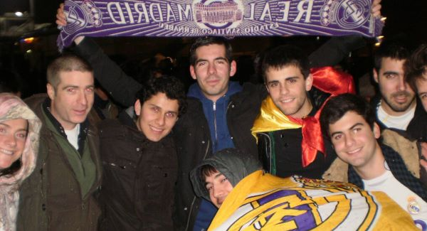 Richard Fitzpatrick, second from left, with Real Madrid fans at a Champions League match in Lyon in 2011