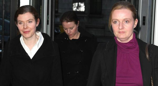 Sean Quinn's daughters Collette, Aoife and Ciara leaving the Commercial Court in Dublin today.Picture: PA