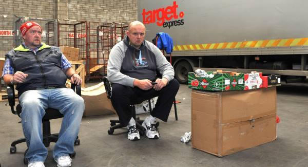 Drivers Aidan Byrne and Paul Takle at the Target Express depot in Little Island, Cork today.  Picture: Dan Linehan
