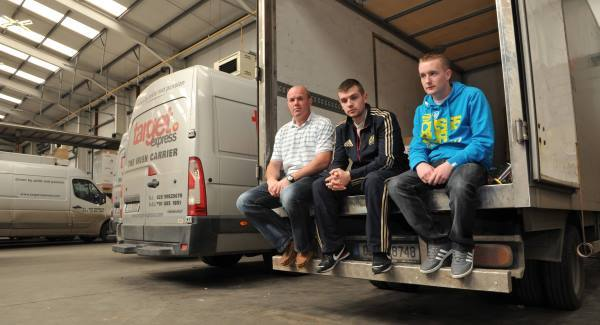 Dave Doran, David O'Gorman and Andrew Crotty at the Target Express depot in Little Island, Cork.  Pictures: Dan Linehan