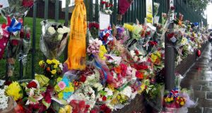 The ad hoc shrine at the site of the killing where Lee Rigby was hacked to death. Picture: PA
